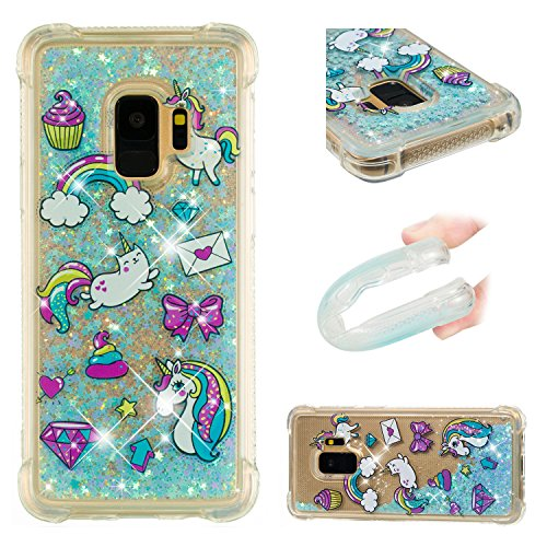 (Galaxy S9 Case, UZER Shockproof Series Cartoon Cute Bling Quicksand Liquid Moving Flowing Twinkle Glitter Shining Sparkle Diamond TPU Bumper Protective Case for Samsung Galaxy S9 (2018))