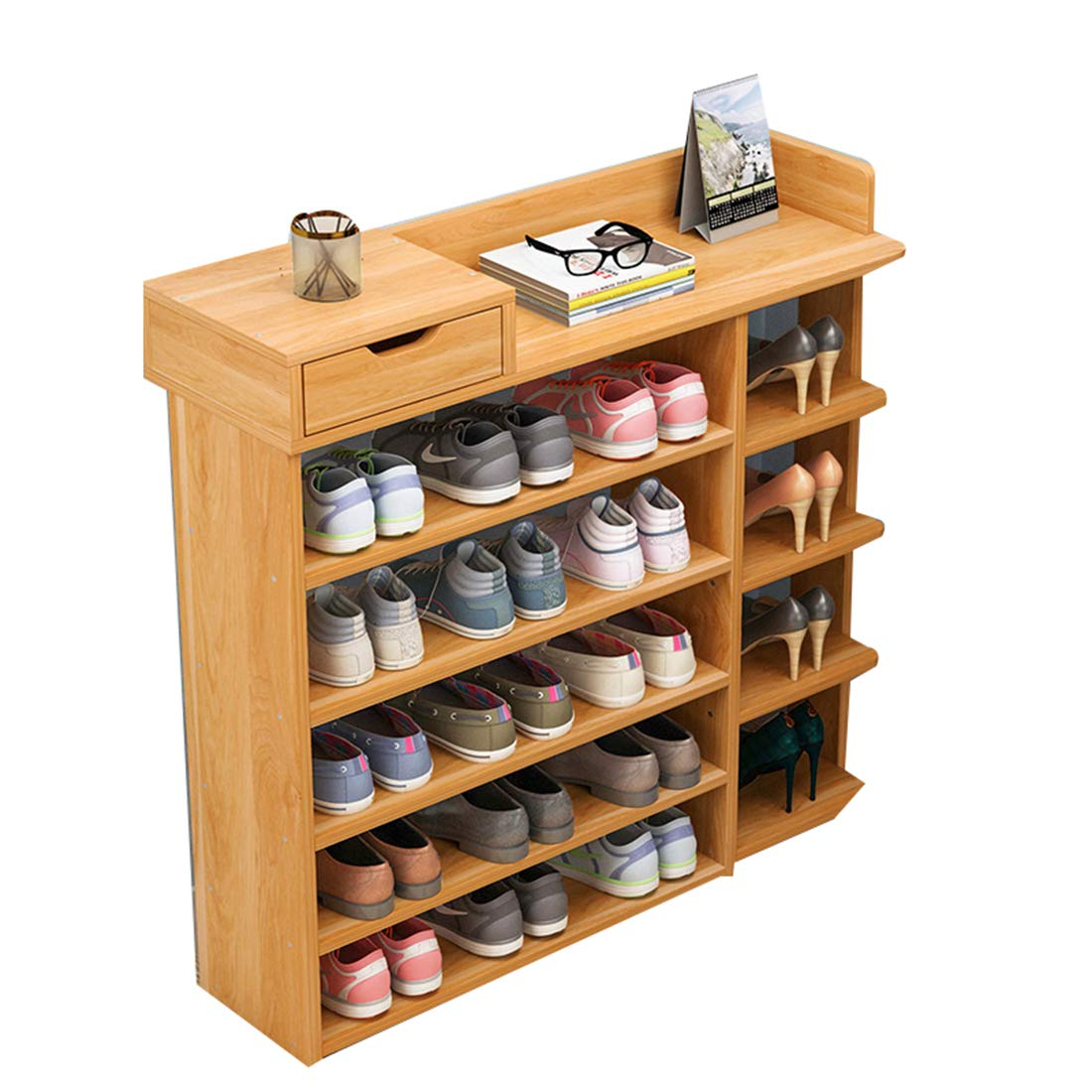 Enolla Multi-Layer Storage Rack with Drawers Simple Personality Bamboo Plant Frame Living Room Bedroom Environmental Health,B,782480cm
