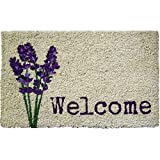 Entryways Lavendar Handmade, Hand-Stenciled, All-Natural Coconut Fiber Coir Doormat 18'' X 30'' x .75''