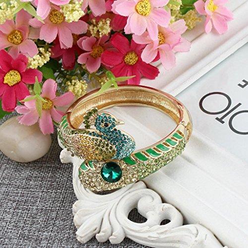 EVER FAITH® Art Nouveau Paon Bracelet Manchette Cristal Autrichien Multicolore Ton Or