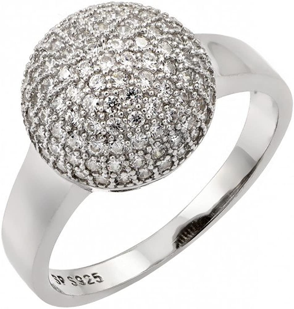Princess Kylie Pave Set Cubic Zirconia Umbrella Shaped Ring Rhodium Plated Sterling Silver