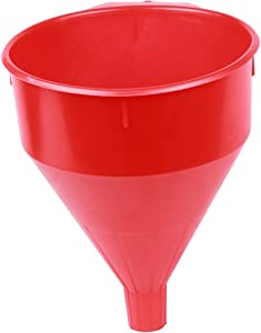 WirthCo 32006 Funnel King Red Safety Funnel with Screen/Strainer – Funnel for Oil, Fuel, Gas, and Automotive. Large 6 Quart Capacity