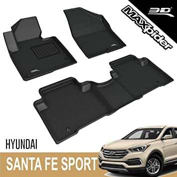 3D MAXpider Second Row Custom Fit Floor Mat for Select Hyundai Tucson Models Black L1HY00222209 Classic Carpet