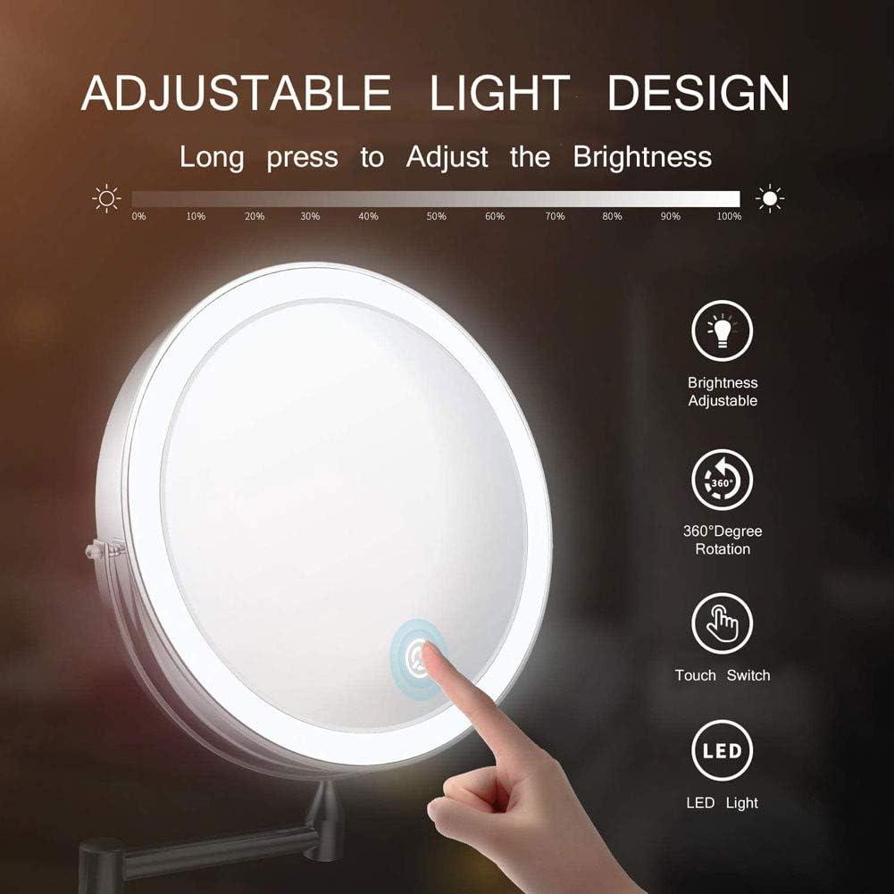 Specchietto da Trucco Ingrandimento X10 Luminosit/à Regolabile MRJ Specchio Ingranditore da Parete con Luce LED 8 PolliciBlack Ruota di 360/°
