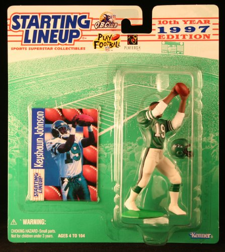 KEYSHAWN JOHNSON / NEW YORK JETS 1997 NFL Starting Lineup Action Figure & Exclusive NFL Collector Trading - In Malls Irving
