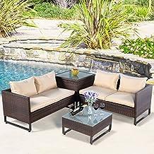 Tangkula 4PCS Patio Furniture Set Outdoor Backyard Garden Lawn Sectional Wicker Rattan Sofa Set Cushioned Seat with Storage Conversation Set (Brown)