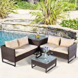 Tangkula 4PCS Patio Sofa Set Wicker Rattan Outdoor Garden Lawn Cushioned Seat with Storage Conversation Set (Brown)