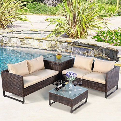 TANGKULA 4PCS Patio Furniture Set Outdoor Backyard Garden Lawn Sectional Wicker Rattan Sofa Set Cushioned Seat with Storage Conversation Set (Brown) - Garden Room Furniture