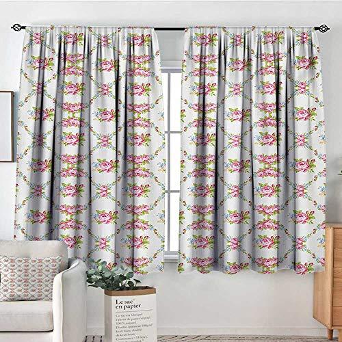 Mozenou Shabby Chic Window Curtain Drape Curvy Borders with Rose Blossoms Retro Feminine Flora Waves Garland Inspired Drapes for Living Room 72