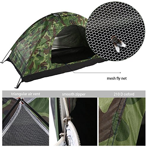 Camo Dome Tent (1-4 Person Camping Tent Camouflage Dome Tent , Waterproof Lightweight Family Camping Tents Outdoor Tent 4 season Portable Tent with Carry Bag for Hiking Travel (1 People Camouflage Camping Tent))