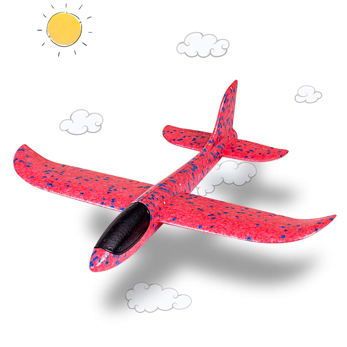 Refasy Foam Plane for Kid Large Size, Children Airplane Flying Toy for Toddlers Age 3-5 EPP Foam Activities Glider Manual Throwing Fun Outdoor Games for Adults 8 9 10 11 12 Best Gifts Boys Girls Red by Refasy