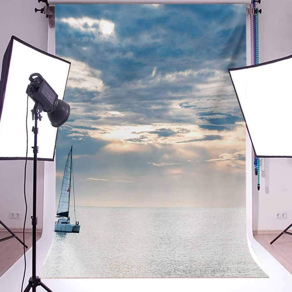 Nautical 10x15 FT Photo Backdrops,Sailing Yacht in The Morning Time on Tranquil Seascape Cloudy Sky Peaceful Marine Image Background for Baby Shower Bridal Wedding Studio Photography Pictures Blue