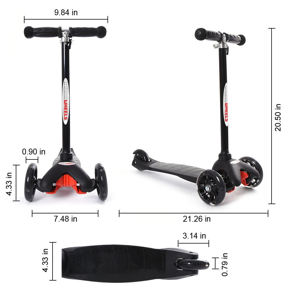 Amazon.com: ChromeWheels Scooter para niños, Deluxe 4 altura ...