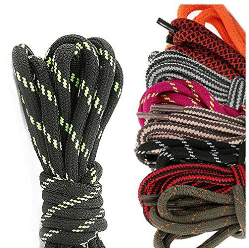 DailyShoes Round Hiking Boot Shoelaces Strong Durable Stylish Shoe Laces Penumbra Miller , (Great for Bowling Shoes) Black Dark Grey 27″ inch (69 cm), (9 PAIRS PACK)