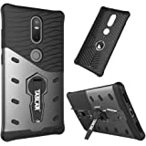 Taslar(TM) Dual Layer Hybrid Armor Series [Advanced Shock Absorption] Protector with [360 Degree Rotation Kickstand] Back Case Cover for Lenovo Phab 2 Plus - Black