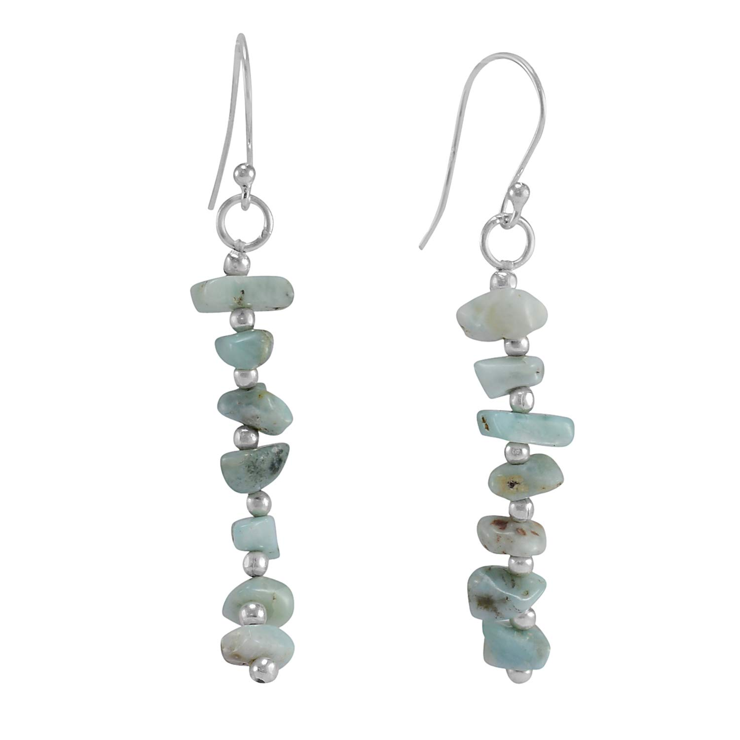 Saamarth Impex Larimar Gemstone 925 Sterling Silver Earring PG-156030