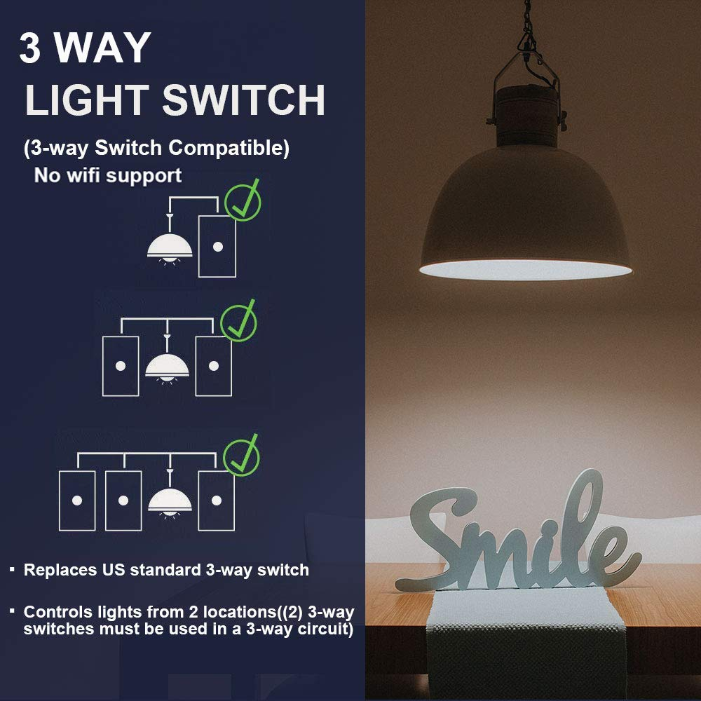 CA-C501S-12 LIVOLO Black US Standard 1 Gang 2 Way Wall Light Switch with with Luxury Tempered Glass Panel,125mm78mm,AC 110-220V