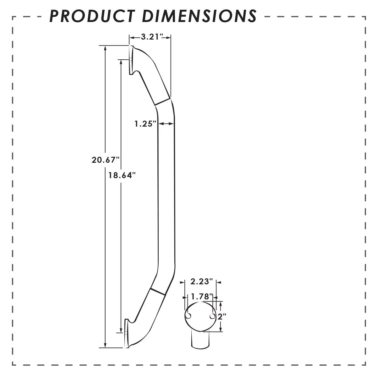 86433-SS//CL-DB IllumaGrip III 20-Inch Polished Stainless Steel Lighted Assist Handle ITC