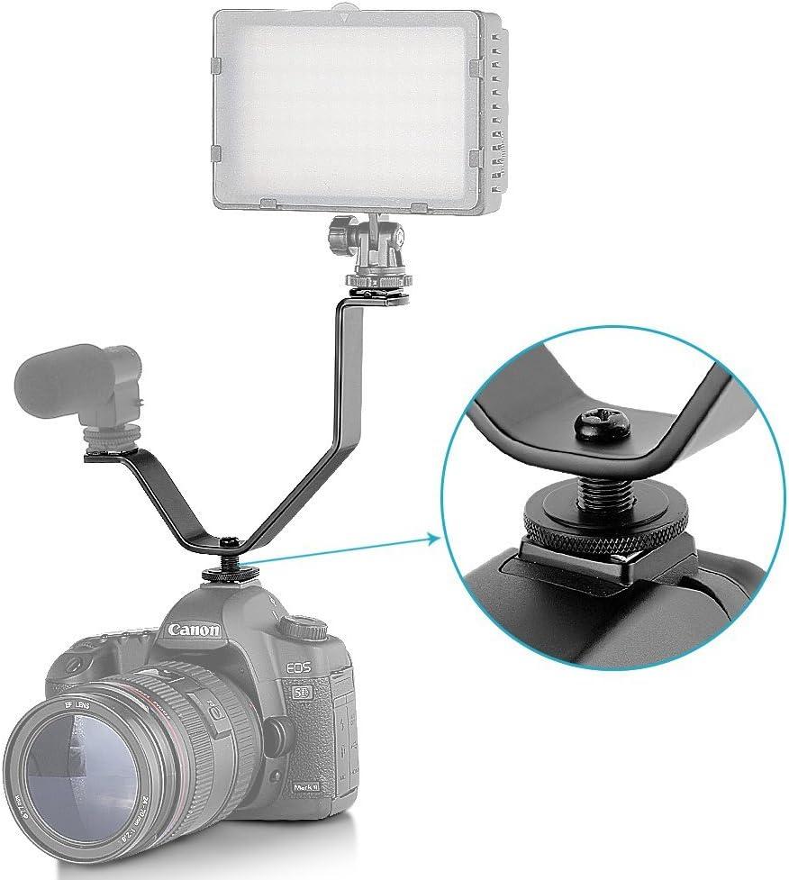 Neewer 10075366 V-Form Doppelhalterung Blitzschuh f/ür Videoleuchten//Mikrofone//Foto//Video