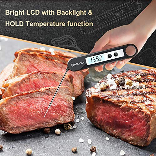 Meat Thermometer, Candy and Food Thermometer for Cooking, SOQOOL Digital Instant Read Meat Thermometer for Kitchen Oil Deep Fry Outdoor BBQ Grill, Folding Probe Backlight & Calibration Function