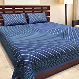 BedZone Jaipuri Print 100 % Cotton King Size Bedsheet with 2 Pillow Covers for Double Bed, Blue