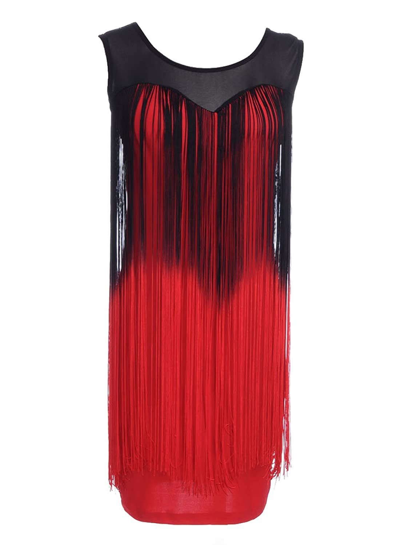 Anna-Kaci S/M Fit Ombre Long Fringe Trim Sweetheart Neckline Dress