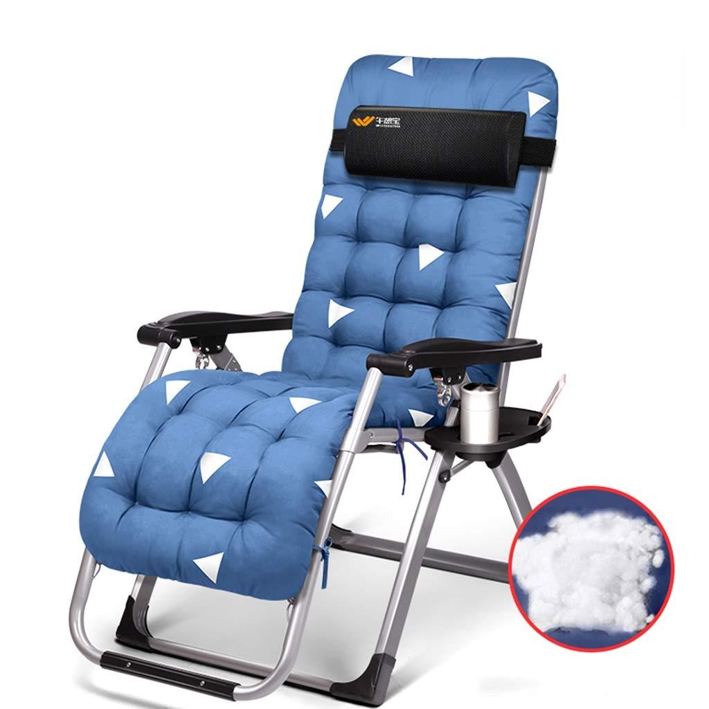 Qz Blaue Klapp-Gartenstühle, die mit Auflage für Frauen Männer, Schwerelosigkeit-Stuhl für kampierende im Freienreise, 150kg stützen