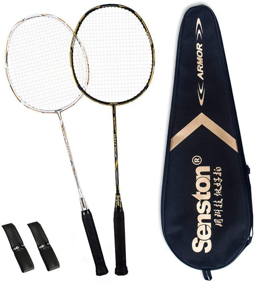 Senston Badminton Racket S300 Full Carbon Fiber Luminous Badminton Set X1301 Glow in The Dark Racquets Best Gift for Children Friend Family