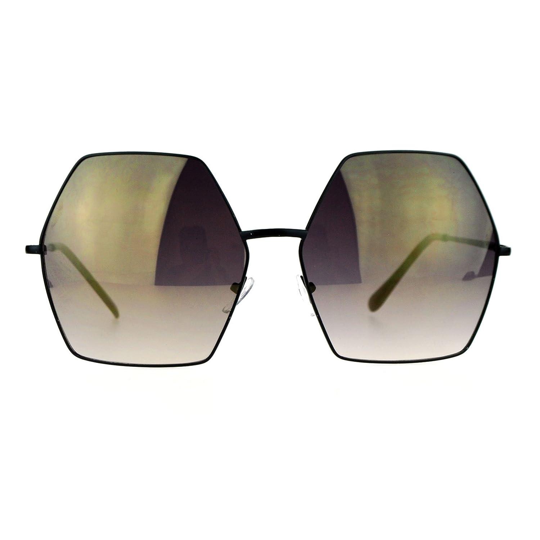 3dbd1e9325 Amazon.com  SA106 Mirrored Lens Octagon Oversize Designer Fashion Sunglasses  Black  Clothing