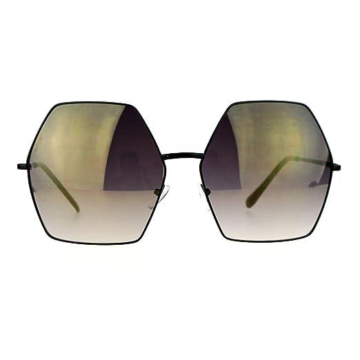868b48518d SA106 Mirrored Lens Octagon Oversize Designer Fashion Sunglasses Black