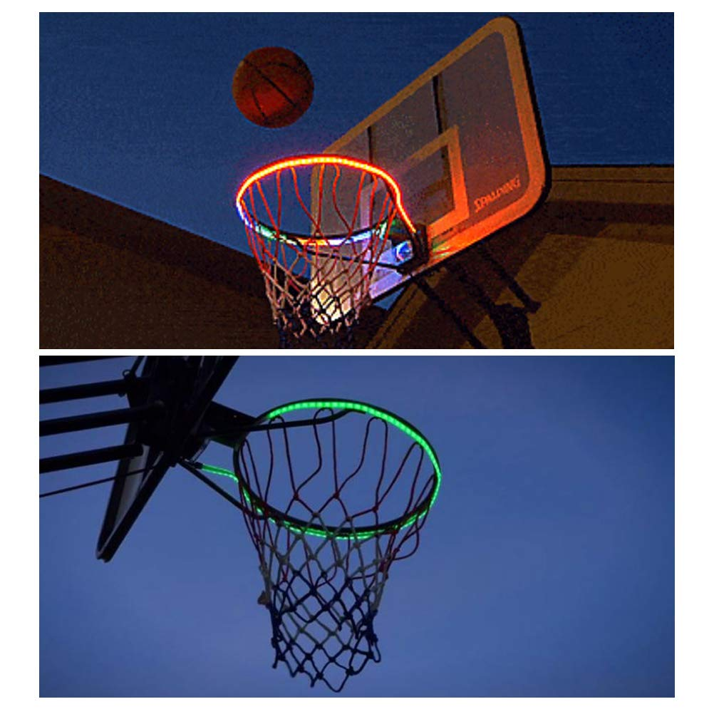 Julyfun Soporte de Baloncesto: luz LED de la Caja de Baloncesto Adultos Jugar Luces netas de aro de Baloncesto Creativas solares al Aire Libre para ni/ños Entrenar y Practicar en el Patio recreo