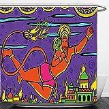 Interestlee Shower Curtain Psychedelic Traditional Indian Ramayan Epic Legend Divine God Culture Sacred Holy Avatar Design Multi