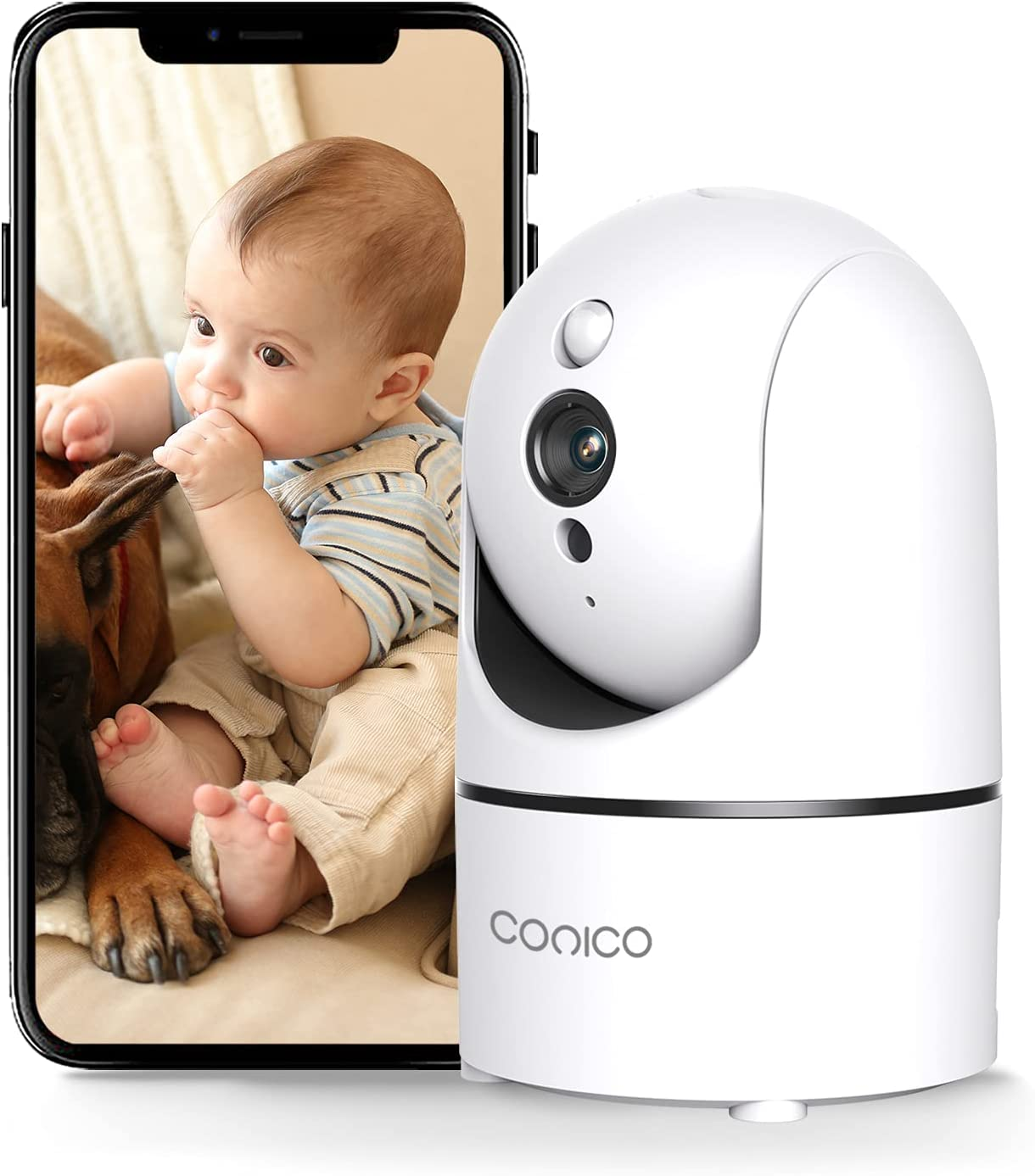 Conico 4MP Baby Monitor, Baby Camera with Sound Detection 2 Way Talk Night Vision Motion Tracking Video Recording 2.4G WiFi IP Cam for Indoor Home Shop Office Security