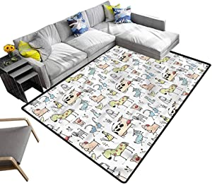 Animal, Non Skid Rugs Doodle Style Farm Animals Indoor/Outdoor Multicolor Area Rug for Bedroom Living Room Girls Kids Nursery, 4'x 6'