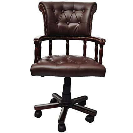 Excellent Amazon Com Anself Real Leather Swivel Office Chair Machost Co Dining Chair Design Ideas Machostcouk