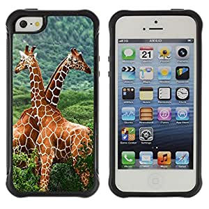 ZETECH CASES / Apple Iphone 5 / 5S / THE GIRAFFE FRIENDS / Los jirafa Amigos / Robusto Caso Carcaso Billetera Shell Armor Funda Case Cover Slim Armor
