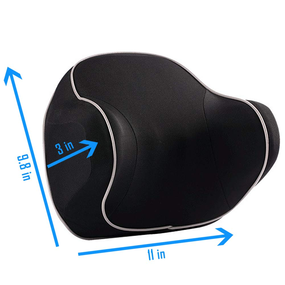 Black Car Cervical Pillow for Neck Pain Relief When Driving LILER Car Neck Pillow Headrest Pillow for Car Seat with Soft Memory Foam
