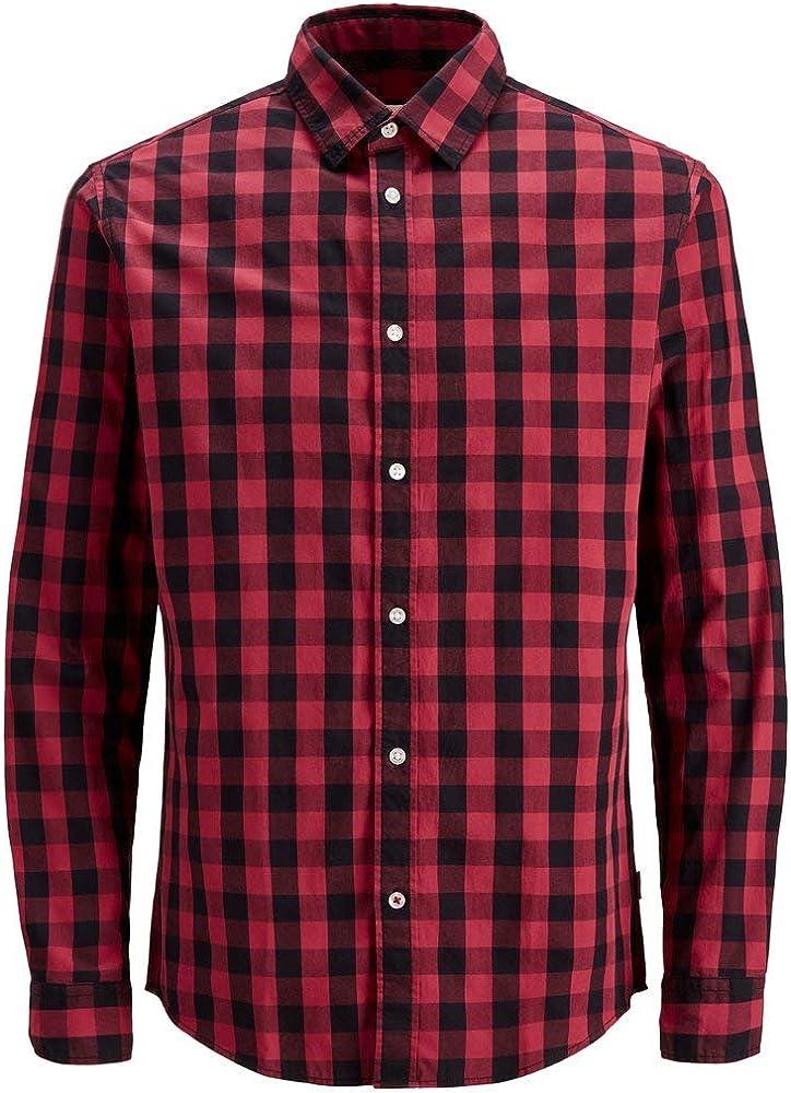 Jack & Jones Jjegingham Shirt L/s Camisa, Multicolor (Brick Red Checks:Mixed Black), X-Small para Hombre: Amazon.es: Ropa y accesorios