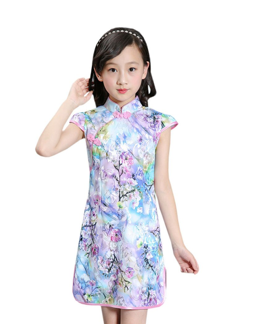 ACVIP Kids Little Girl's Jacquard Chinese Qipao Dress (5-6 years/Tag 130, Flower 5)