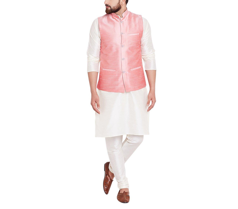 Sojanya Since 1958 Men's Dupion Silk Only Nehru Jacket