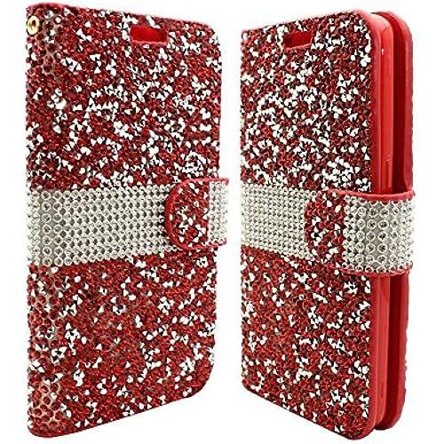 Samsung Galaxy S7 - [Red] [Diamond Glitter Rhinestone Bling] ID Card Wallet Folio Pouch Case and Atom LED Sales