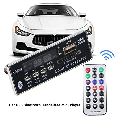 Car USB Bluetooth Hands-Free MP3 Player,Car USB FM Aux Radio Integrated MP3 Decoder Board Module with Remote Control: Home Improvement