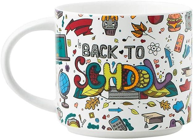 Taza de Dibujos Animados/de cerámica Desayuno Copa, Microondas Caja de Seguridad, Anti-escaldar Mango Ancho, la Leche de Avena Postre Ensalada, Blanca, de Gran Capacidad de 400 ml: Amazon.es: Hogar