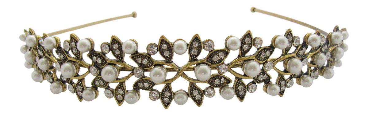 Pick a Gem Haar Zubehör/brüniert mit Gold und Pearl Cluster Kopfband/Hochzeit Haar Zubehör HC398
