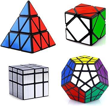 HJXDtech- Shengshou clásico Cubo mágico Irregular 4 Pack Conjunto con Pyraminx Megaminx Skewb y Espejo Cubo Professional Speed Cube: Amazon.es: Juguetes y juegos