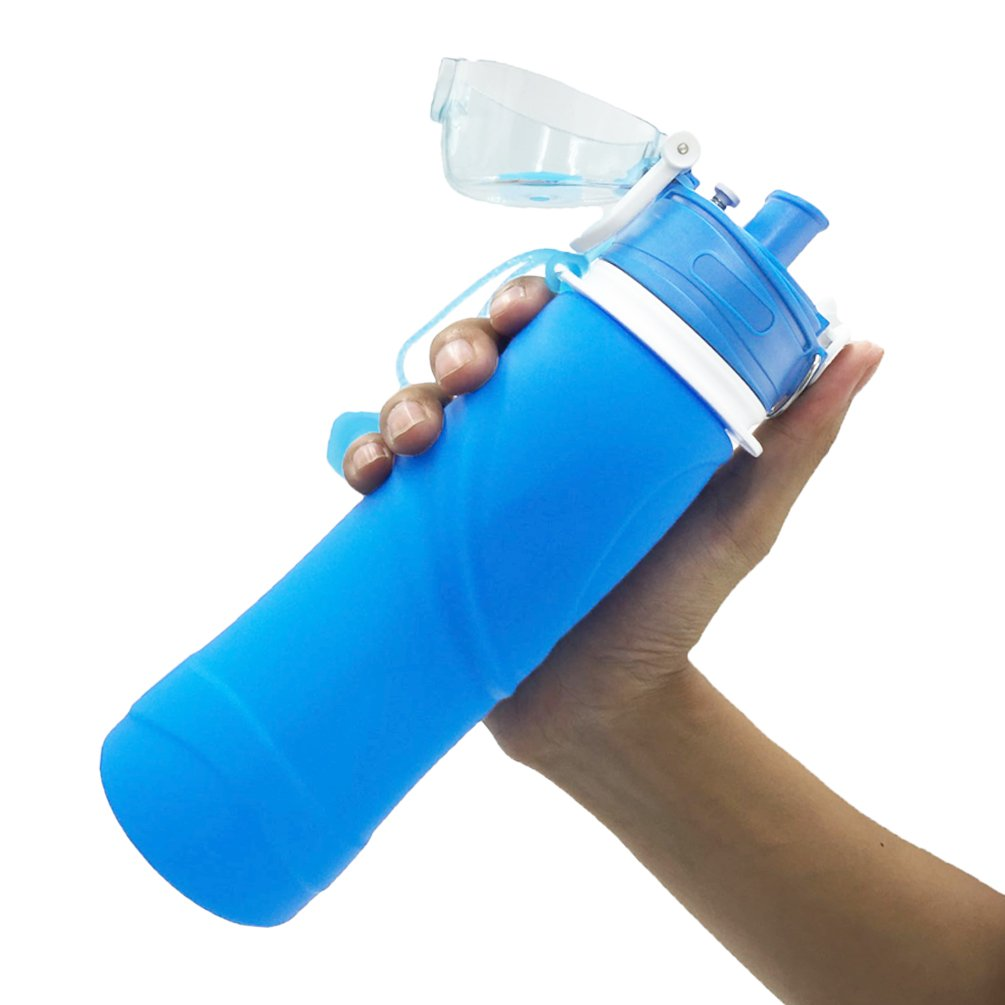 Ziitop Collapsible Water Bottle-Large Capacity 750ml 26 oz,BPA Free,FDA Approved ,Medical Grade Silica Gel Water Carrier,Portable Leak Proof Foldable Sports Bottle,Travel Drinking Water Bottle For Outdoor,Camping,Running,Cycling,Yoga (Blue)