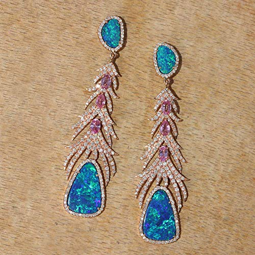 Natural 2.30 Ct. Diamond Boulder Opal, Pink Sapphire Gemstones Drop Dangle Earrings Solid 14k Rose Gold Fine Jewelry