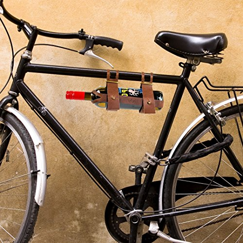 Bicycle Rider Wine (CKB Ltd Leather Bicycle Wine Bottle Holder - Carrier Rack Bottle Holder Ideal For Taking Wine On A Picnic Or Day Trip)