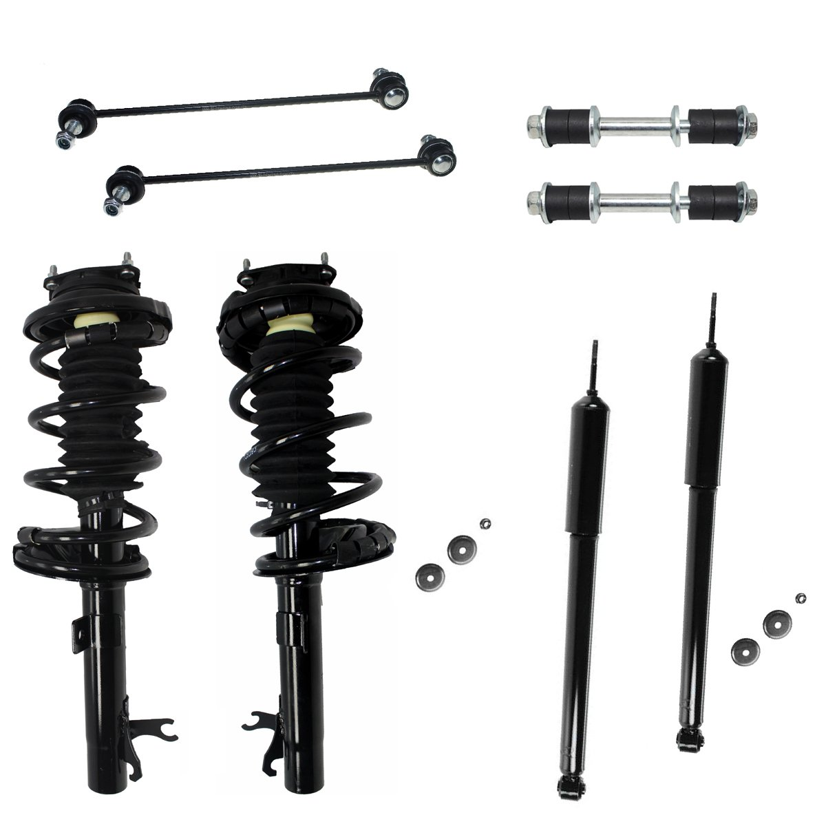 All (4) Complete Front Strut Assembly Set & Rear Shock Absorber Pair & All (4) Front & Rear Sway Bar Links - NOT FOR WAGON - [00-05 Ford Focus] Detroit Axle