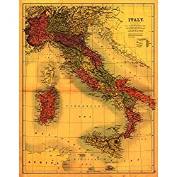 Italy - Panoramic Map (9x12 Collectible Art Print, Wall Decor Travel Poster)